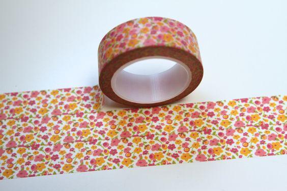 Washi Masking Tape BLUMEN orange pink grün gelb von washitapes auf DaWanda.com