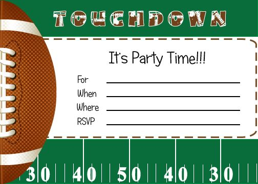 FREE Football Party Printables from By Invitation Only DIY - birthday invitation templates free word