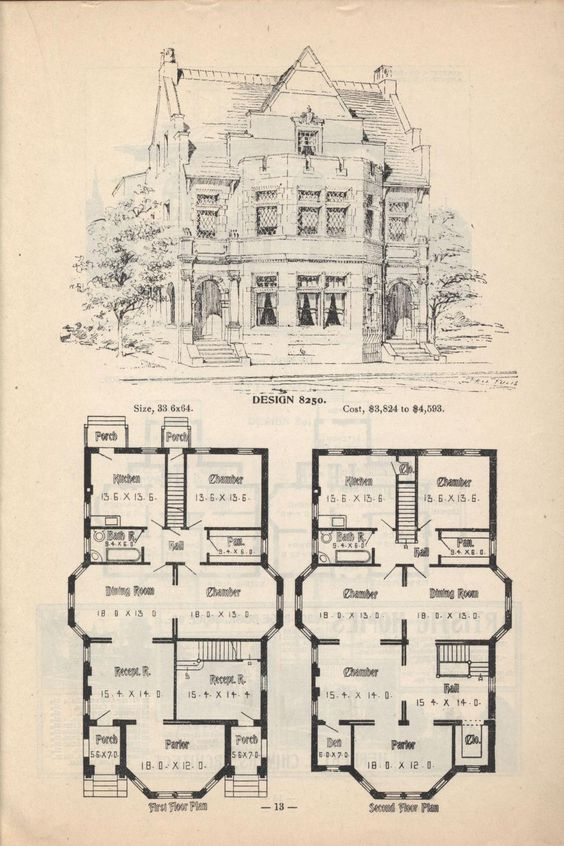 Old Classic Floor Plans 1890s 2 Story Home Artistic City