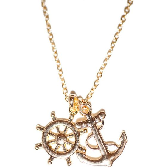 Cheap So Chic Anchor Wheel Necklace ($20) ❤ liked on Polyvore featuring jewelry, necklaces, accessories, colar, anchor necklace and anchor jewelry