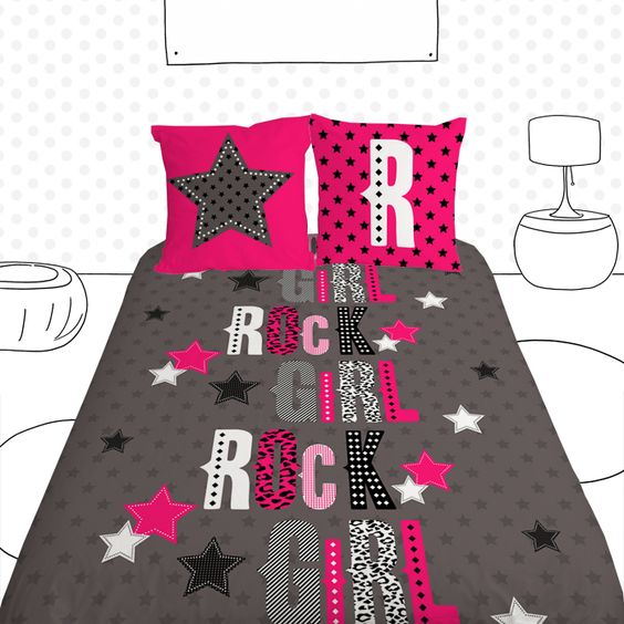 housse de couette ado rock girl rock girl quilt cover for teens collection luphique pour ado. Black Bedroom Furniture Sets. Home Design Ideas