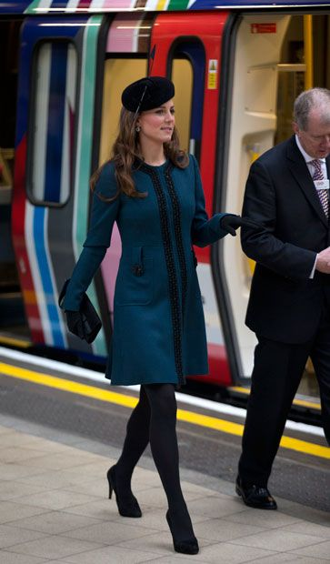 The Duchess of Cambridge walks along a platform at Baker Street underground station