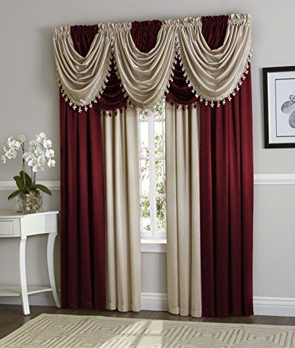 Curtains Ideas burgandy curtains : LuxuryDiscounts 1 Piece HILTON Elegant Crinkled Window Treatment ...
