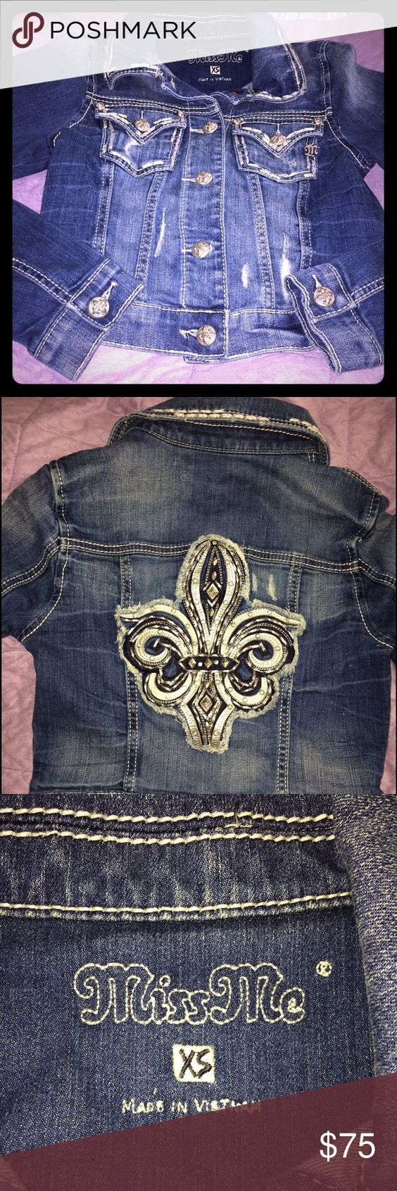 Miss Me denim jacket Short waisted denim jacket in perfect condition. Jacket was never worn. NWOT. Miss Me Jackets & Coats Jean Jackets