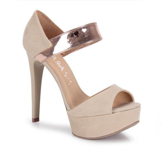 Sandalia Salto Feminina Lara Costa 7021680 - Bege - Passarela Calçados