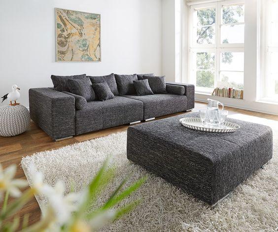 big-sofa marbeya 280x115 cm schwarz couch mit hocker | wohnzimmer