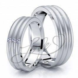 0.09 Carat 6mm Triple Convex His and Hers Diamond Wedding Ring Set