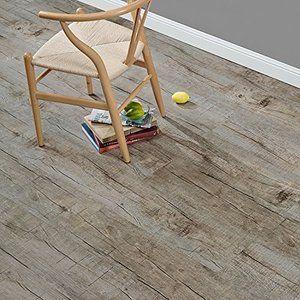 [neu.holz] Laminat Vinyl-Boden Eiche stonewashed 1m² - PVC-Design-Bodenbelag mit gefühlsechter Holz-Struktur stark strukturiert Planken zum Kleben - 4 Dekor Dielen = 1,114 qm