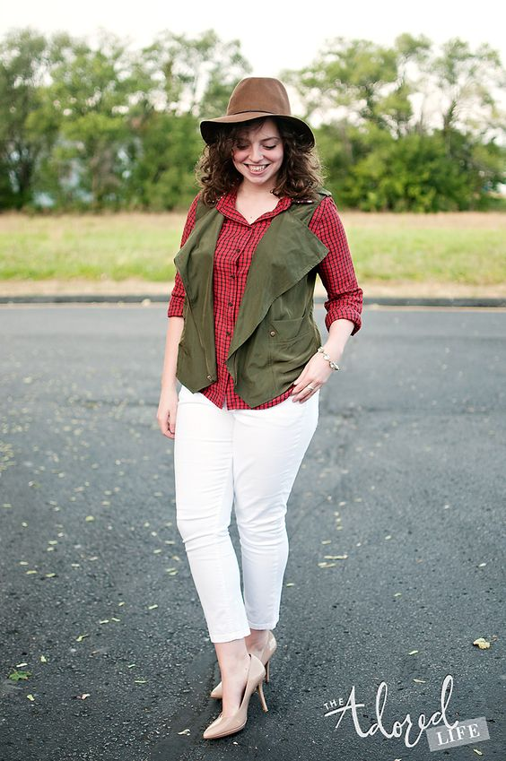 Sequin plaid top + White Pants