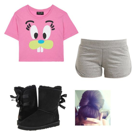 """""""Lazy"""" by kimberly14kimberly ❤ liked on Polyvore featuring Lazy Oaf, adidas and UGG Australia"""