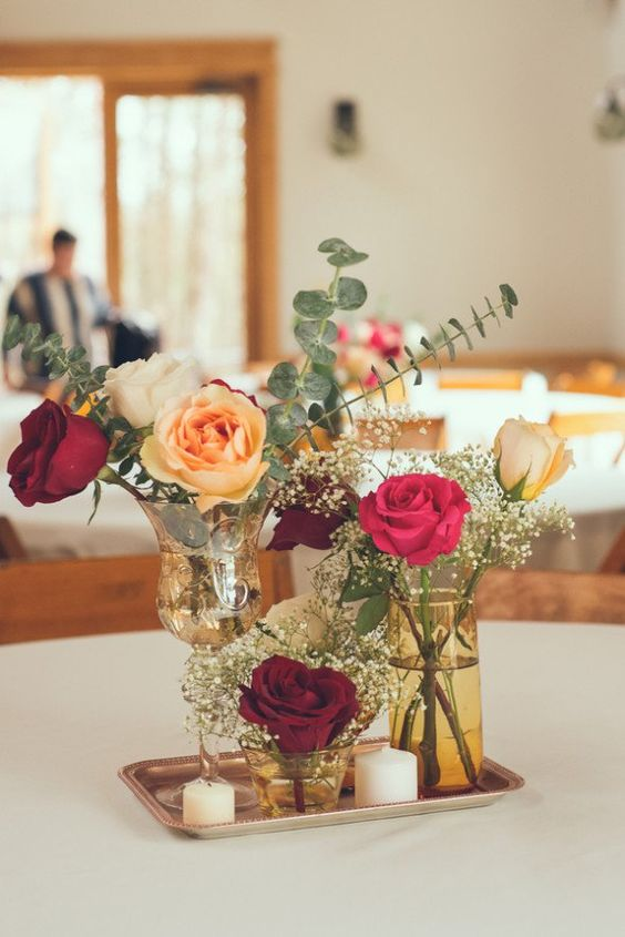 Simple Red Centerpieces : Intimate chic rustic wedding vintage inspired