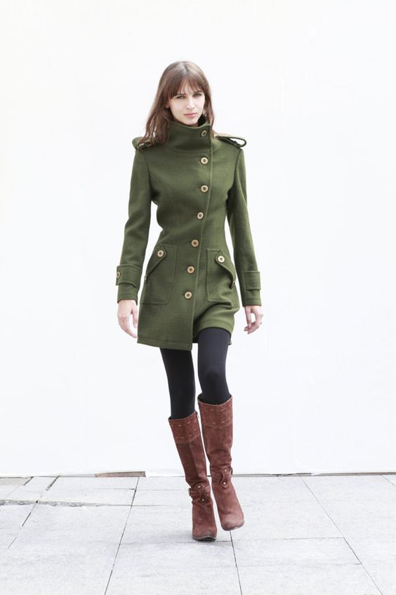 Army Green Fitted Cashmere Coat Military Jacket Winter Wool Coat ...