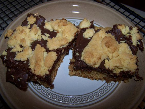 Dutch Oven Dessert--Chocolate Bars.  Made with a yellow cake mix, eggs, oil, sweetened condensed milk, and chocolate chips.  Looks good.