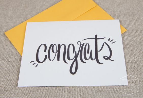 Hand Lettered Congrats Card by LiveBeautifullyPaper on Etsy