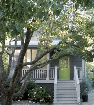 Green door, gray house, white trim