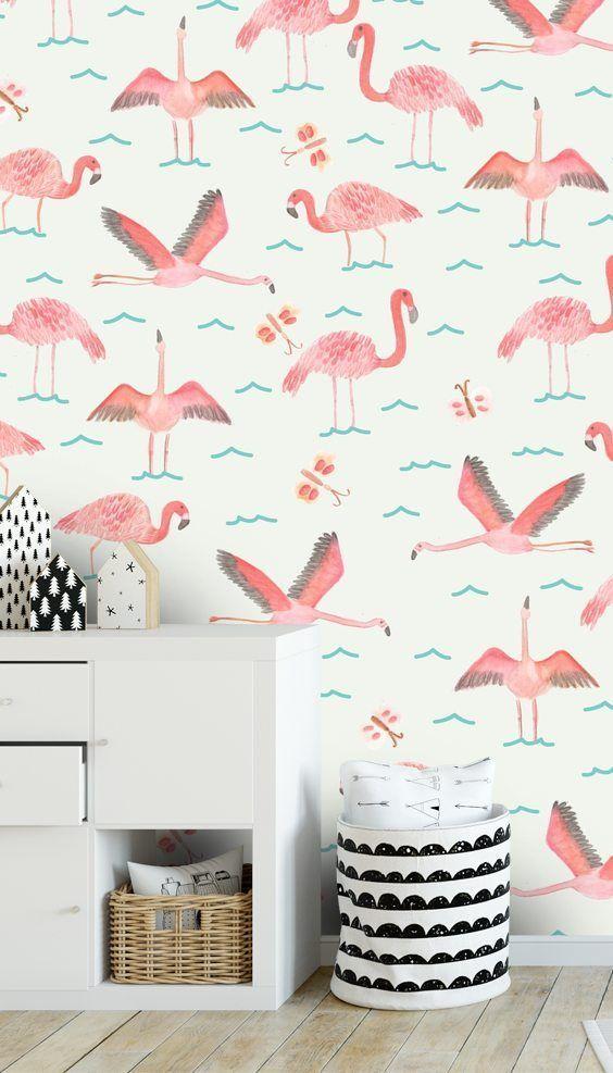 Flamingos In 2020 Flamingo Wallpaper Playroom Wallpaper