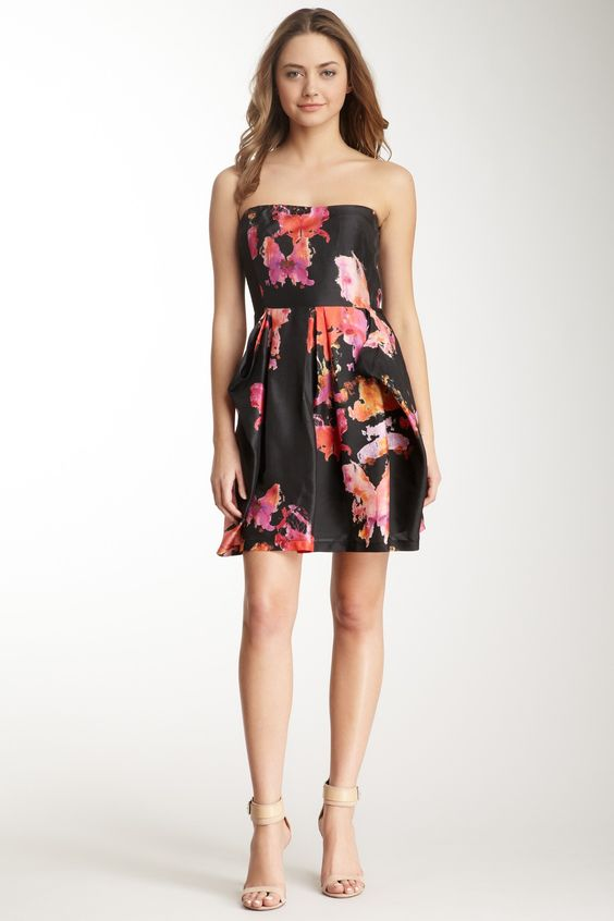 See by Chloe: Strapless Silk Print Dress