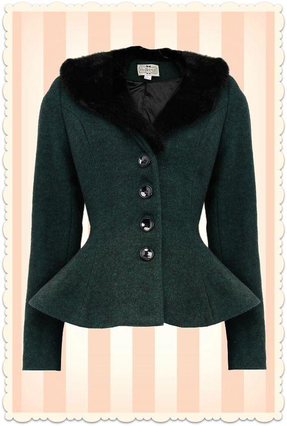 Veste peplum rétro années 50 Deana fourrure vert / noir