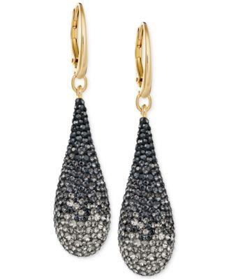 Swarovski Abstract Gold-Tone & Dark Crystal Drop Earrings | macys.com