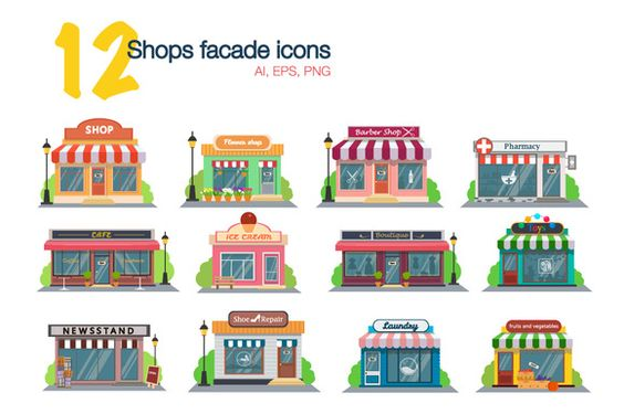 Store and shop facade flat icons by BSVIT on @creativemarket