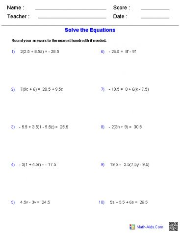 Solving Equations Worksheet Answers Delightful To Help Our Blog Within This Time Period I Ll De Solving Equations Solving Linear Equations Literal Equations Solving linear equations worksheet