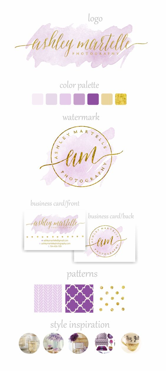 Branding Package - Watercolor branding - Gold and purple - Sparkle logo - Photography logo and watermark - Watercolor Business cards