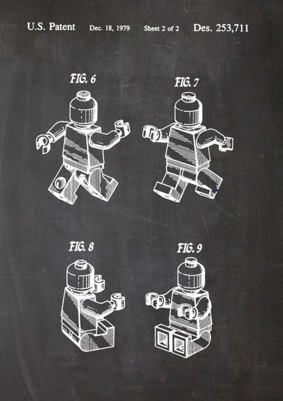 Lego Bausteine, Patent Zeichnung Lego Paten Drawing, great wall art  http://de.dawanda.com/product/74947903-Lego-Patent-Kreide-Zeichnung-Druck-Print-A4