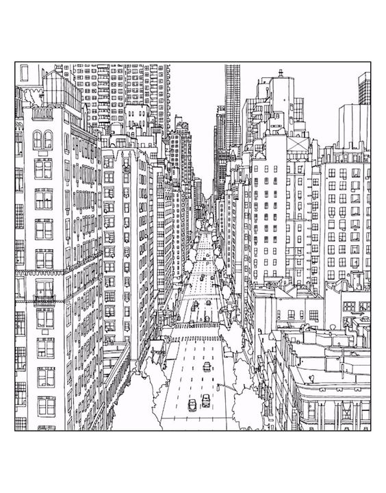 Galerie de coloriages gratuits coloriage-adulte-new-york-1st-avenue-and-east-60th-street-in-manhattan-source-steve-mcdonald. Un dessin d'une rue de New York (Source : Steve Mc Donald):