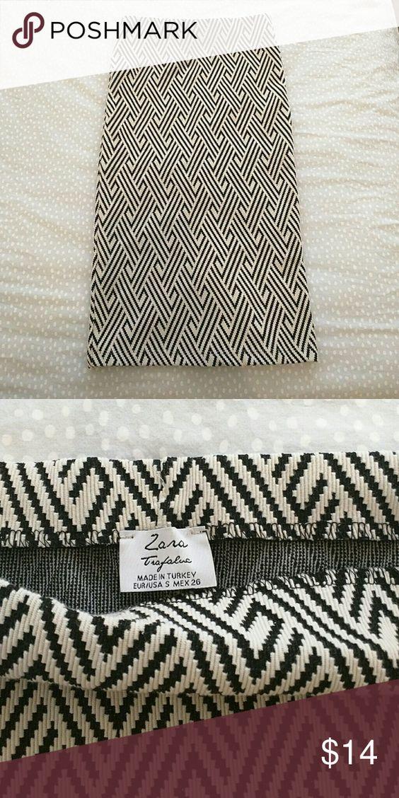Zara Tube Pencil Skirt Geometric print tube pencil skirt Zara Skirts Pencil
