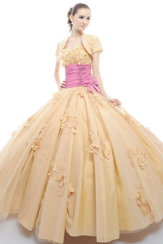 Strapless Empire Ribbons Tulle Ball Gown Quinceanera Dress