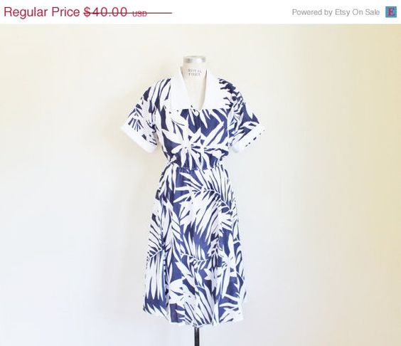 30 OFF SALE Vintage 80's Navy and White Palm by perniejaynevintage, $28.00