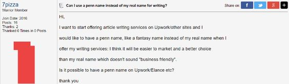 Can I use a pen name instead of my real name for writing?