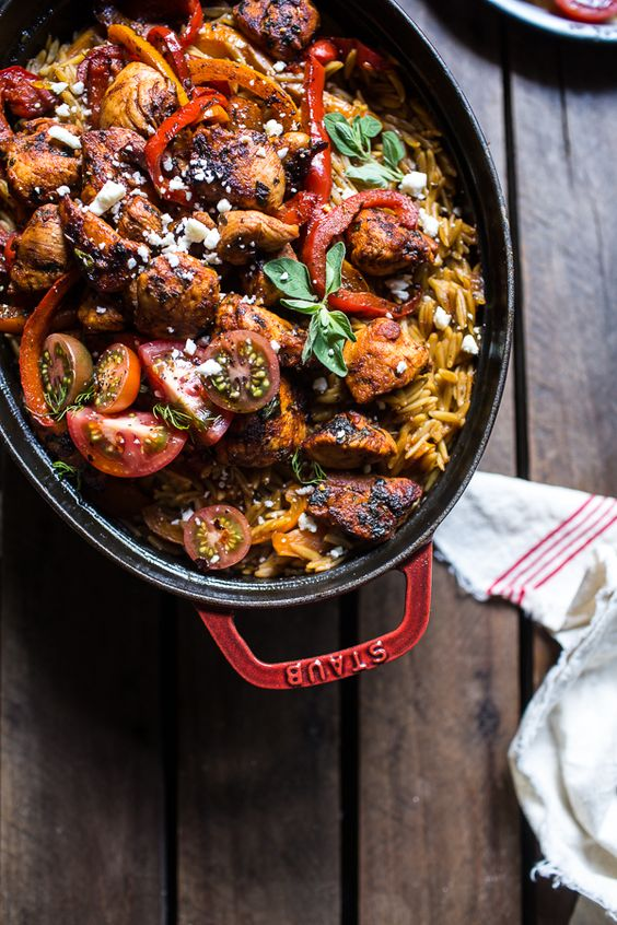 One-Pot Greek Oregano Chicken and Orzo with Tomatoes in Garlic Oil ...