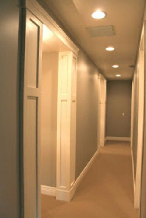 Faux pillars on the corners molding trim ideas for Hallway door ideas