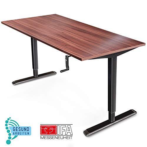 Deskfit Hohenverstellbarer Schreibtisch Inkl Tischplatte Made In Germany Manuell Stufenlos Erg In 2020 Hohenverstellbarer Schreibtisch Tischgestell Regal Massivholz