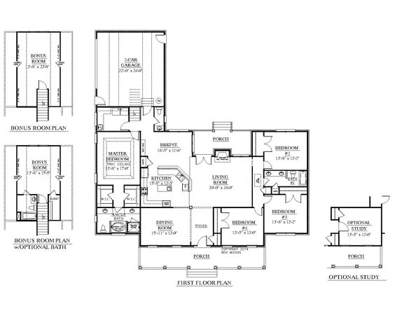House plans beautiful and the o 39 jays on pinterest for One story house plans with bonus room above garage