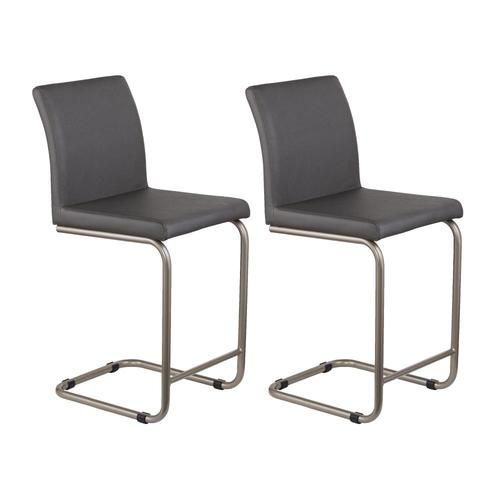 Boston Loft Furnishings Pikes Set Of 2 Gray With Brushed Silver Tall 36 In And Up At Lowes Com In 2020 Upholstered Bar Stools Leather Counter Stools Counter Stools