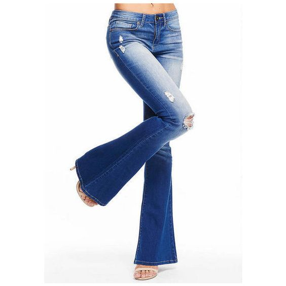 Spoon Destructed Flare Jean ❤ liked on Polyvore featuring jeans, torn jeans, white destroyed jeans, destroyed jeans, white jeans i mid-rise jeans