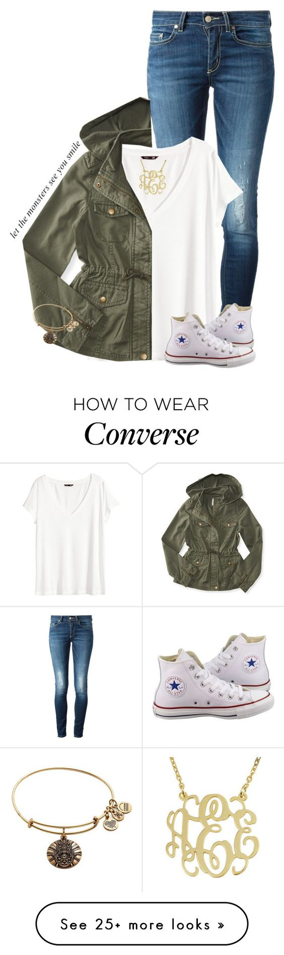 """Let the monsters see you smile"" by sydneymellark on Polyvore featuring Dondup, H&M, Aéropostale, Converse, Alex and Ani and simplyspring"