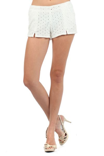White Pair Of Crocheted Shorts With A Banded Waist & Front Slits (FREE SHIPPING)