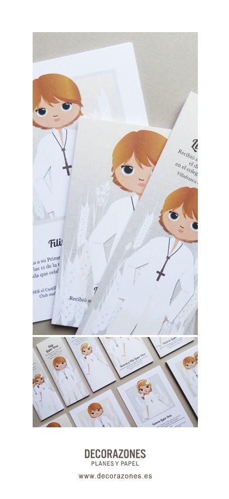 Decorazones.es _Invitaciones, recordatorios y marca libros de Primera Comunión 2014 para dos hermanos