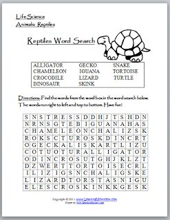 learning ideas grades k 8 reptiles word search puzzle and craft activities reptiles. Black Bedroom Furniture Sets. Home Design Ideas