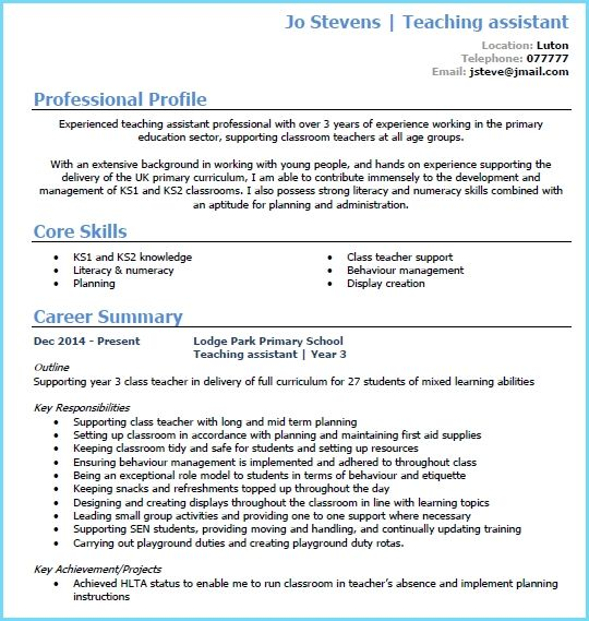 Teaching Assistant Cv Example Page 1 Cv For Teaching Cv Cv For Teaching Teaching Assistant Teaching
