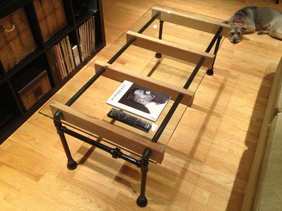 MESA, ESCRITORIO TUBO+MADERA+CRISTAL Glass Loft Coffee Table by ...