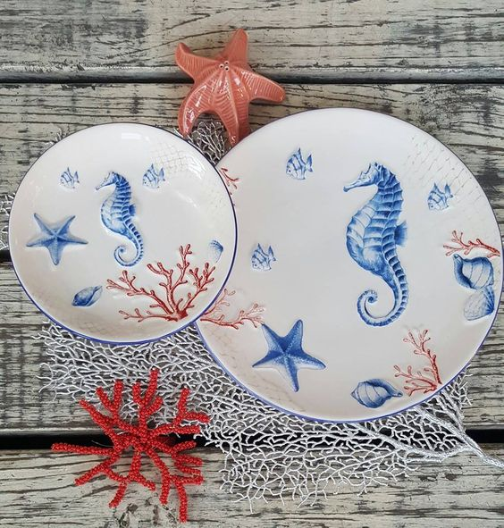 Lleva el mar a tu mesa con esta hermosa vajilla ! #Casamargot #hogar #mesa #vajilla