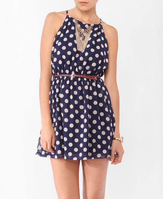 Polka Dot Slit Halter Dress | Forever 21  Comfy and Cute