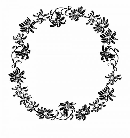 12 Flower Circle Png Black And White Flower Circle White Flower Png Black Wreath
