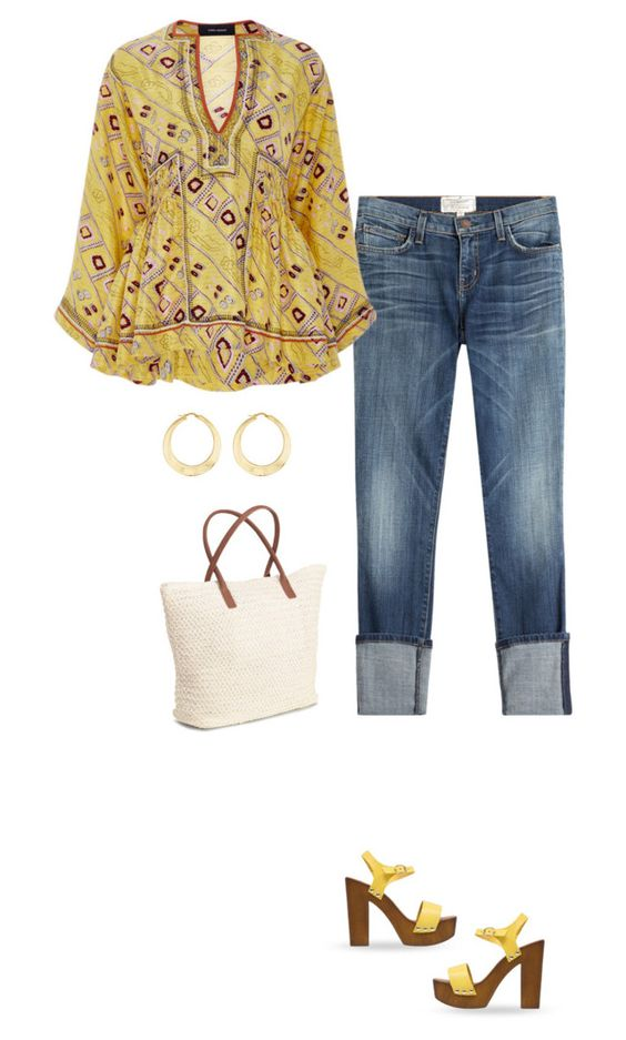 """""""Peplum Top"""" by terry-tlc ❤ liked on Polyvore featuring Current/Elliott, Mansur Gavriel, Mai Piu Senza, H&M and Ross-Simons"""