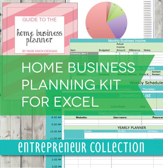 Home Business Planner - 19 Page Excel Spreadsheet - Budget, Weekly