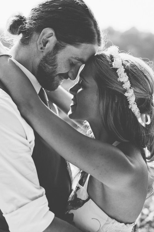 bearded groom and flowers in my hair:) this is actually a really cute idea